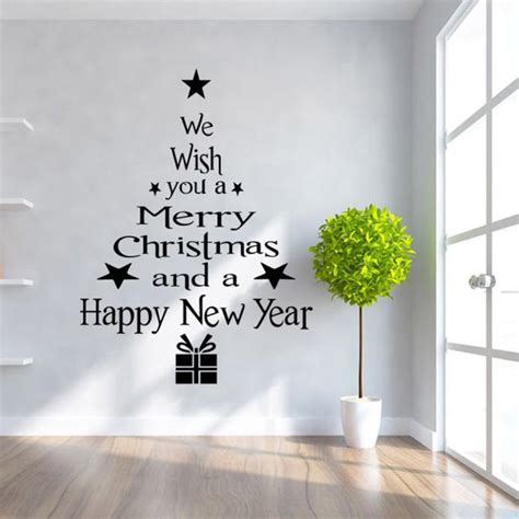 Christmas Wall Art Stickers christmas trees letters stick wall art decal mural decor