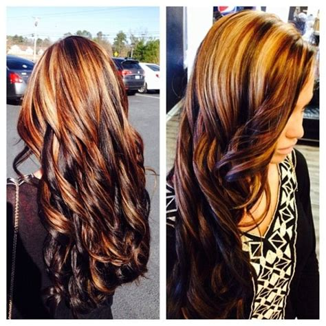 dark hair underneath with blonde highlights on top dark chocolate brown underneath with blonde and dark brown