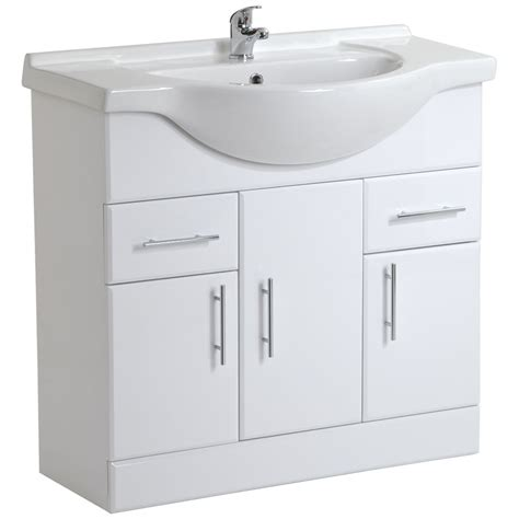 White Bathroom Sink Vanity Units High Gloss White Bathroom Vanity Unit Storage Cabinet With