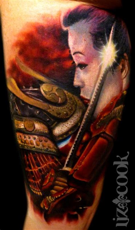 samurai tattoo with geisha samurai and geisha by liz cook tattoonow