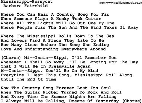 cat song lyrics country mississippi pussycat lyrics and chords