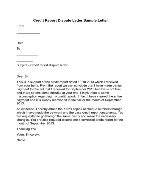 Credit Report Dispute Letter Sle Edit Fill Sign Online Handypdf Template To Dispute Credit Report