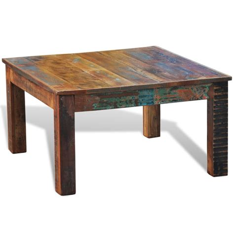 Reclaimed Wood Coffee Table Square Antique Style Vidaxl Com Coffee Tables