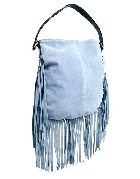 Fringe Bag lyst asos suede fringe shoulder bag in blue