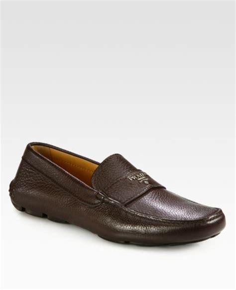 prada mens loafer prada logo loafers in brown for lyst