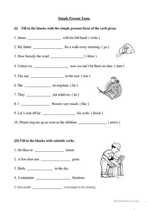 printable worksheets simple present tense simple present tense worksheet free esl printable