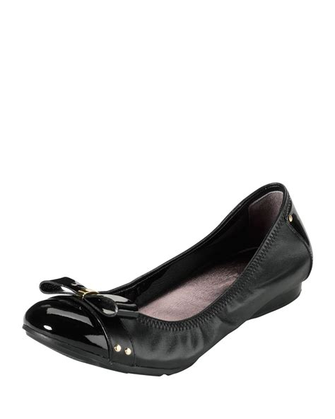 cole haan flat shoes cole haan air leather ballet flat black in black lyst
