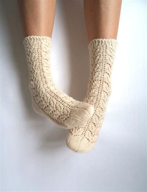 White Lace Socks Knit Wool Socks Wool By