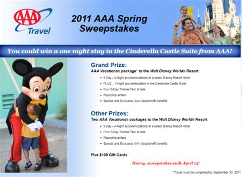 Www Aaa Com Sweepstakes - 2011 aaa spring sweepstakes win a trip to walt disney world