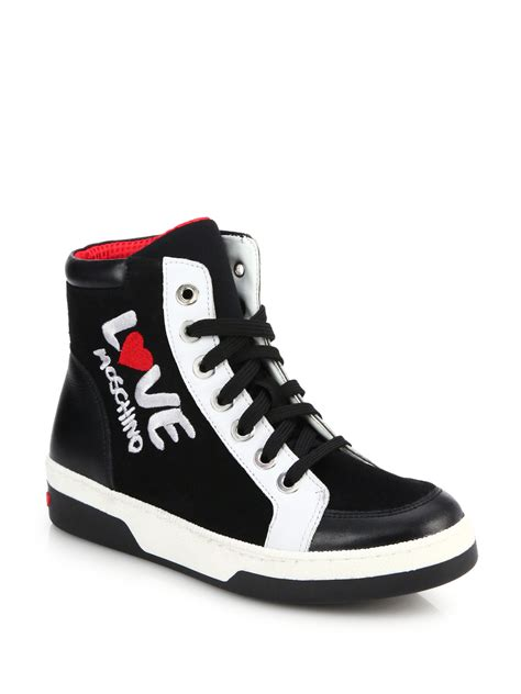 High By Moschino by Lyst Moschino Embroidered Leather High