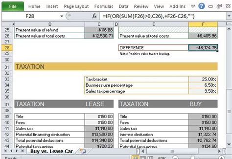 excel 2010 buy versus lease calculation youtube