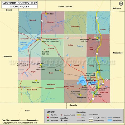 Cadillac Mi Zip by Wexford County Map Michigan