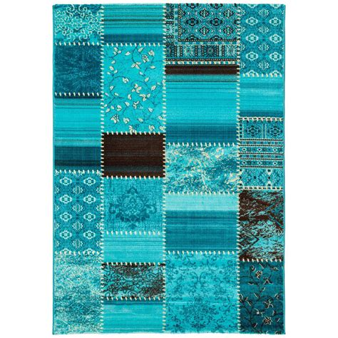 teppiche patchwork carpet turquoise 4 sizes