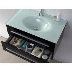 Meuble salle de bain simple vasque noe noir laqu avec vasque en verre