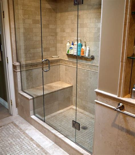 Shower Stalls With Seat by Tiled Shower Enclosures With Seat Marble Inlay Tile