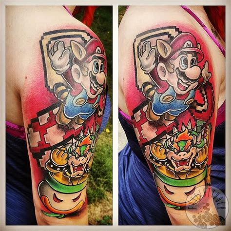 80s tattoos fatetattooer mario mario bros sleeve 80s