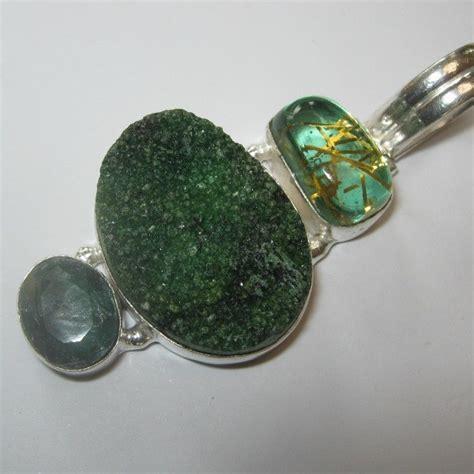 Liontin Wanita Batu Yellow Citrine liontin silver 925 model vintage druzy hijau cz untuk wanita