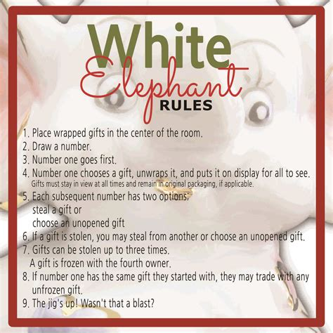 printable numbers for gift exchange white elephant gift exchange rules and printables