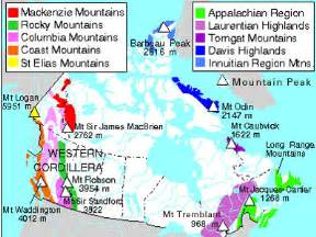 map of canada mountains mountain range the canadian encyclopedia