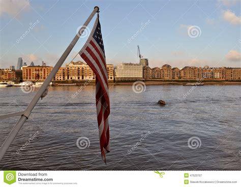 thames river america american flag river thames london stock photo image