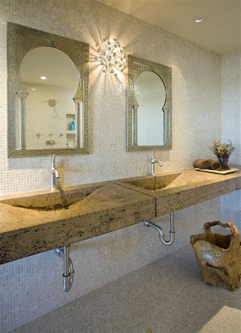 moroccan mirror  glass sink powder room traditional