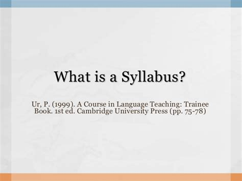 what a what is a syllabus