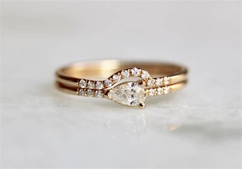 14k pear engagement ring set wrap around wedding