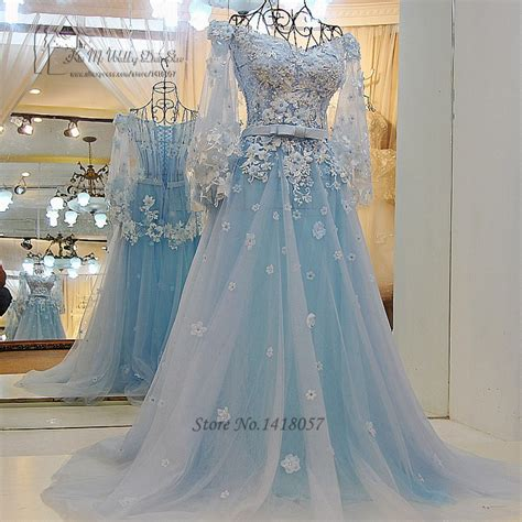 hochzeitskleid hellblau vintage bohemian wedding dress princess light blue wedding