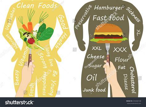 vegetables vs junk food human fast food slim human stock vector 293468138