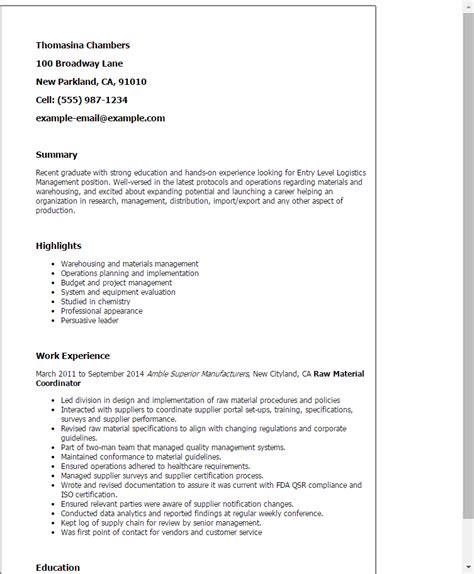 logistics manager resume template entry level logistics management resume template best