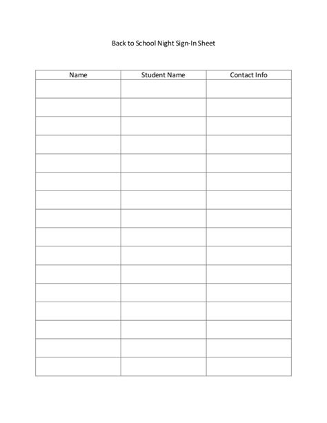 back to school sign in sheet template back to school sign