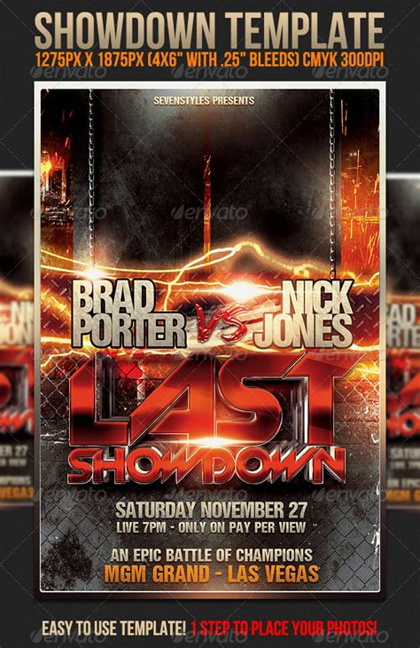 Free Boxing Fight Card Template by Showdown Fighting Club Flyer Template Miranax Free