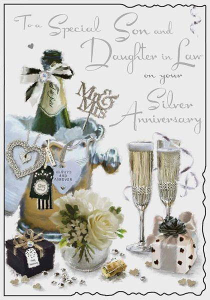 Son & Daughter in Law Silver Wedding Anniversary Card
