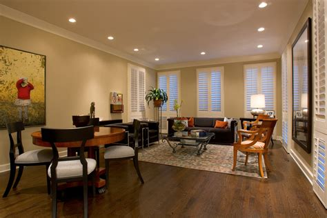 spotlights in living room recessed lighting living room eclectic with great room dining table