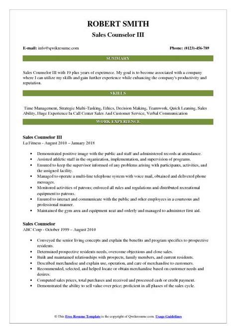sle of resume for application pdf sales counselor resume sles qwikresume