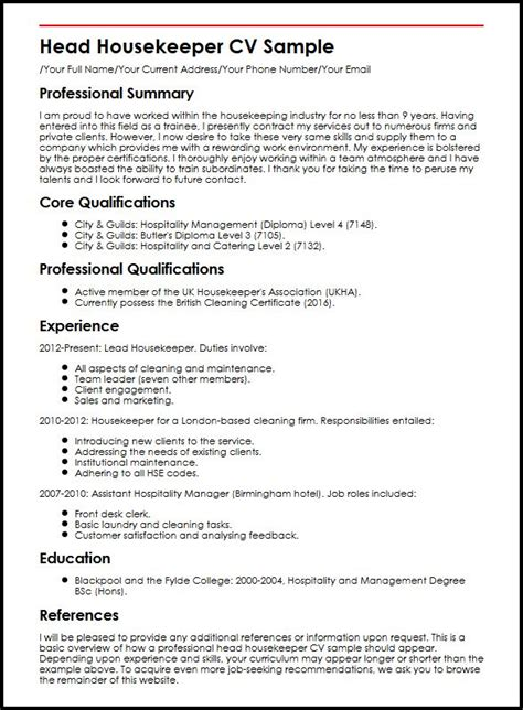 Curriculum Vitae Sles For Housekeeping housekeeper cv sle myperfectcv