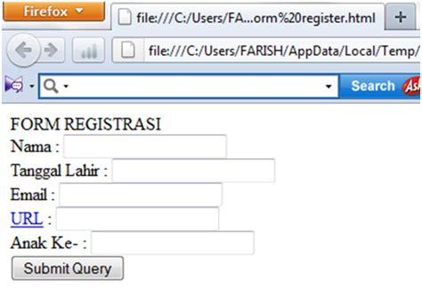 cara membuat html radio button form registrasi menggunakan bahasa html lembaran kuliahku