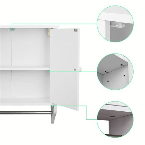 Wall Mounted White Wooden Cabinet Doors Shelf Unit Towel Wall Mounted Bathroom Shelving Units