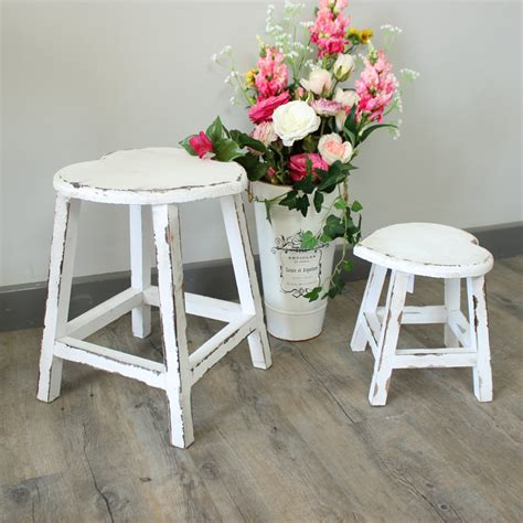 White Bedroom Stools Uk by Small White Painted Wooden Stool Shabby Chic