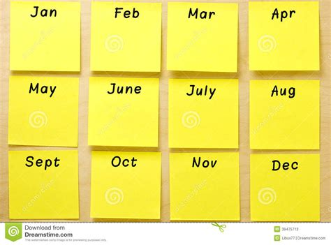 Calendar With Photos Blank Calendar Yellow Post It Collection Stock Photo