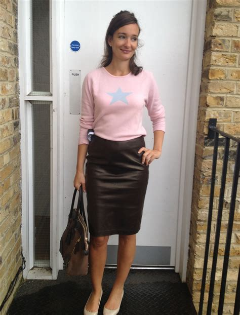 wearing a leather skirt dress