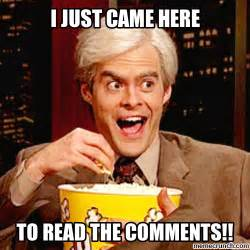 Popcorn Meme - just came to read the comments bill hader popcorn