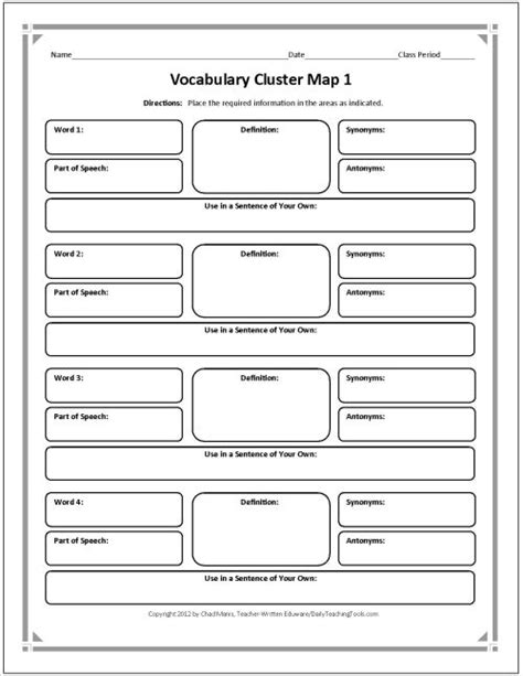 vocabulary chart template graphic organizers for grade vocabulary bunnies