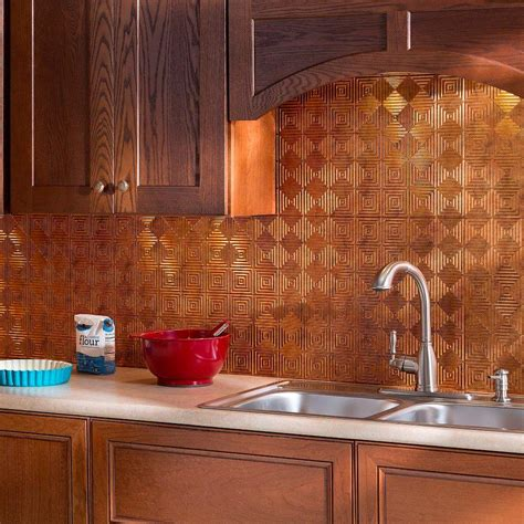 thermoplastic panels kitchen backsplash fasade 24 in x 18 in traditional 4 pvc decorative backsplash panel in muted gold b51 20 the