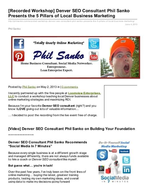 Seo Marketing Company 5 by Denver Seo Consultant Philip Sanko Presents Quot The 5 Pillars