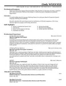 Speech Pathologist Resume Exle by Sle Resume Speech Language Pathologist