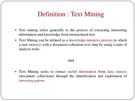 meaning of pattern in data mining text data mining1