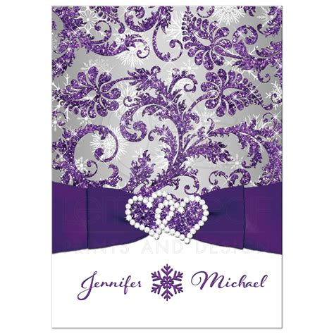 winter wonderland wedding invitation purple silver