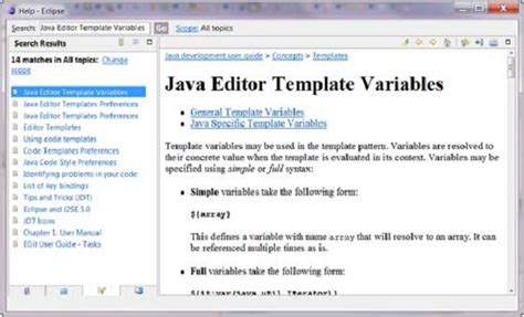 template variables eclipse code templates