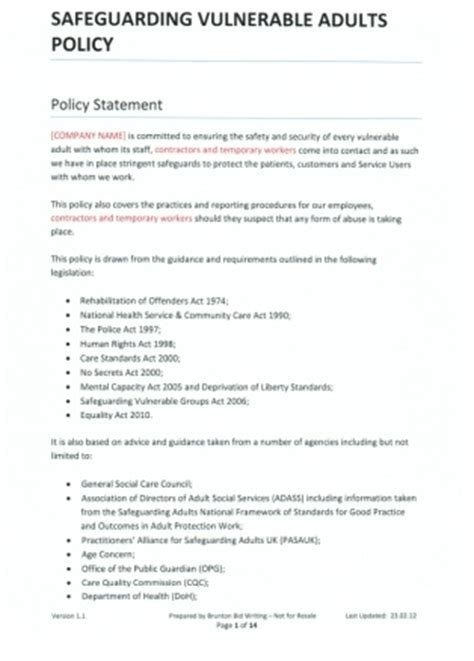 vulnerable adults protection policy template safeguarding vulnerable adults company policy template for
